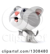 Clipart Of A 3d White And Gray Kitten Facing Left And Rearing Up Royalty Free Illustration