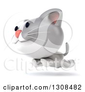 Clipart Of A 3d White And Gray Kitten Running To The Left Royalty Free Illustration