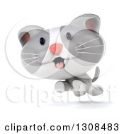 Clipart Of A 3d White And Gray Kitten Running Royalty Free Illustration