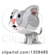 Clipart Of A 3d White And Gray Kitten Facing Left Royalty Free Illustration