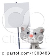 Clipart Of A 3d White And Gray Kitten Smiling Under A Blank Sign Royalty Free Illustration