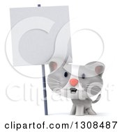 Clipart Of A 3d White And Gray Kitten Under A Blank Sign Royalty Free Illustration