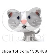 Clipart Of A 3d White And Gray Kitten Royalty Free Illustration