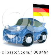 Clipart Of A 3d Blue Porsche Car Facing Slightly Left And Holding A German Flag Royalty Free Illustration