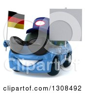 Clipart Of A 3d Blue Mechanic Porsche Car Facing Slightly Left Wearing Sunglasses Holding A Blank Sign And German Flag Royalty Free Illustration