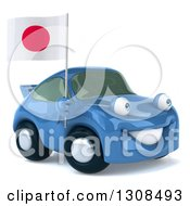 Clipart Of A 3d Blue Porsche Car Facing Slightly Right And Holding A Japanese Flag Royalty Free Illustration by Julos
