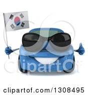 Clipart Of A 3d Happy Blue Porsche Car Wearing Sunglasses Holding A Thumb Up And South Korean Flag Royalty Free Illustration by Julos