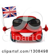 Clipart Of A 3d Red Porsche Car Wearing Sunglasses Holding A Thumb Up And A British Flag Royalty Free Illustration
