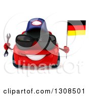 Clipart Of A 3d Red Mechanic Porsche Car Wearing Sunglasses Holding A Wrench And German Flag Royalty Free Illustration