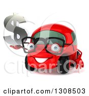 Clipart Of A 3d Red Bespectacled Compact Car Holding A Dollar Symbol Royalty Free Illustration