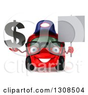 Clipart Of A 3d Red Bespectacled Compact Mechanic Car Holding A Blank Sign And Dollar Symbol Royalty Free Illustration
