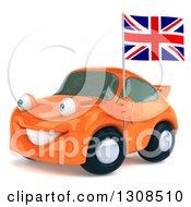 Clipart Of A 3d Orange Porsche Car Facing Slightly Left Holding A British Flag Royalty Free Illustration