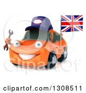 Clipart Of A 3d Orange Porsche Car Mechanic Facing Slightly Left Holding A Wrench And British Flag Royalty Free Illustration