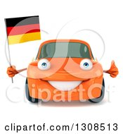 Clipart Of A 3d Orange Porsche Car Holding A Thumb Up And German Flag Royalty Free Illustration