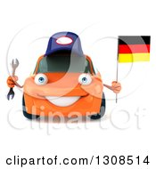 Clipart Of A 3d Orange Mechanic Porsche Car Holding A Wrench And German Flag Royalty Free Illustration