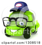 Clipart Of A 3d Bespectacled Lime Green Compact Car Mechanic Facing Slightly Left And Holding A Thumb Up Royalty Free Illustration