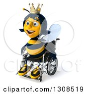 Clipart Of A 3d Happy Queen Bee Facing Left In A Wheelchair Royalty Free Illustration