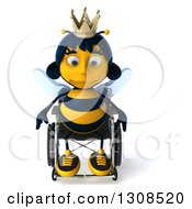 Clipart Of A 3d Sad Queen Bee In A Wheelchair Royalty Free Illustration