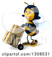 Clipart Of A 3d Happy Female Bee Facing Left And Moving Boxes On A Dolly Royalty Free Illustration