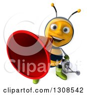 Clipart Of A 3d Happy Gardener Bee Announcing Upwards With A Megaphone Royalty Free Illustration