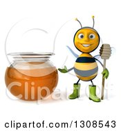 Clipart Of A 3d Happy Gardener Bee Holding A Dipper And Presenting A Honey Jar Royalty Free Illustration