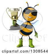 Clipart Of A 3d Happy Gardener Bee Holding A Trophy Royalty Free Illustration