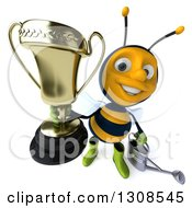 Clipart Of A 3d Happy Gardener Bee Holding A Watering Can And Holding Up A Trophy Royalty Free Illustration