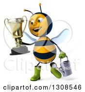 Clipart Of A 3d Happy Gardener Bee Holding A Watering Can And Walking With A Trophy Royalty Free Illustration
