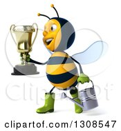 Clipart Of A 3d Happy Gardener Bee Holding A Watering Can And Walking To The Left With A Trophy Royalty Free Illustration