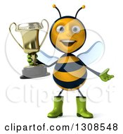 Clipart Of A 3d Happy Gardener Bee Shrugging And Holding A Trophy Royalty Free Illustration