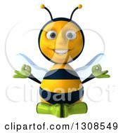 Clipart Of A 3d Happy Gardener Bee Meditating Royalty Free Illustration by Julos