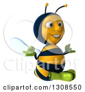Clipart Of A 3d Happy Gardener Bee Facing Slightly Right And Meditating Royalty Free Illustration