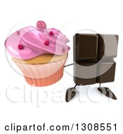 Clipart Of A 3d Chocolate Candy Bar Character Holding Up A Pink Frosted Cupcake Royalty Free Illustration