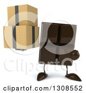 Clipart Of A 3d Chocolate Candy Bar Character Holding And Pointing To Boxes Royalty Free Illustration