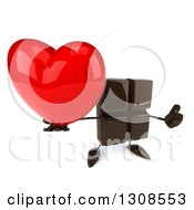 Clipart Of A 3d Chocolate Candy Bar Character Holding Up A Love Heart And Thumb Royalty Free Illustration