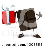 Clipart Of A 3d Chocolate Candy Bar Character Holding Up A Finger And A Gift Royalty Free Illustration