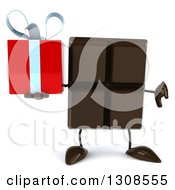 Clipart Of A 3d Chocolate Candy Bar Character Holding A Thumb Down And A Gift Royalty Free Illustration