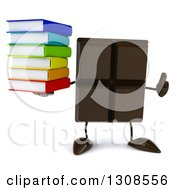 Clipart Of A 3d Chocolate Candy Bar Character Holding A Thumb Up And Stack Of Books Royalty Free Illustration