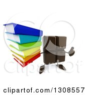 Clipart Of A 3d Chocolate Candy Bar Character Holding Up A Thumb And Stack Of Books Royalty Free Illustration