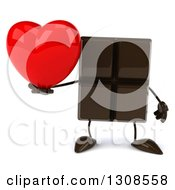 Clipart Of A 3d Chocolate Candy Bar Character Holding A Love Heart Royalty Free Illustration