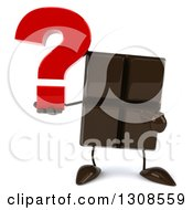 Clipart Of A 3d Chocolate Candy Bar Character Holding And Pointing To A Question Mark Royalty Free Illustration by Julos