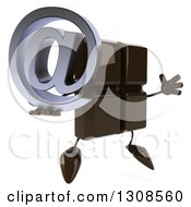 Clipart Of A 3d Chocolate Candy Bar Character Facing Slightly Right Jumping And Holding An Email Arobase At Symbol Royalty Free Illustration by Julos