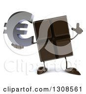 Clipart Of A 3d Chocolate Candy Bar Character Holding Up A Finger And A Euro Currency Symbol Royalty Free Illustration by Julos