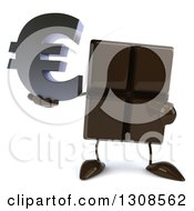 Clipart Of A 3d Chocolate Candy Bar Character Holding And Pointing To A Euro Currency Symbol Royalty Free Illustration by Julos