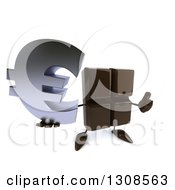 Clipart Of A 3d Chocolate Candy Bar Character Holding Up A Thumb And A Euro Currency Symbol Royalty Free Illustration by Julos