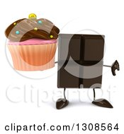Clipart Of A 3d Chocolate Candy Bar Character Holding A Chocolate Frosted Cupcake And Thumb Down Royalty Free Illustration by Julos