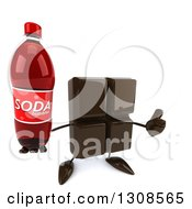 Clipart Of A 3d Chocolate Candy Bar Character Holding Up A Soda Bottle And A Thumb Royalty Free Illustration by Julos