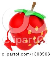 Clipart Of A 3d Strawberry Character Facing Right And Looking Down Royalty Free Illustration by Julos