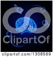 Clipart Of A 3d Blue Brain And Atoms On Black Royalty Free Illustration