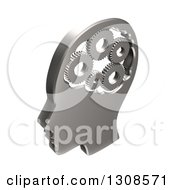 Clipart Of A 3d Chrome Head With Gears In The Brain On White Royalty Free Illustration